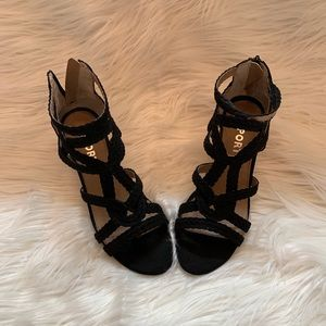Report black cage wedge sandals 7.5